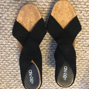 Abound Black Wrap Wedge Sandals, Size 12